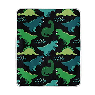 "SKYDA Cute Childish Seamless Pattern with Dinosaurs Softest Warm Elegant Cozy Faux Fur Home Sofa Throw Blanket (50"" x 60""): Home & Kitchen"
