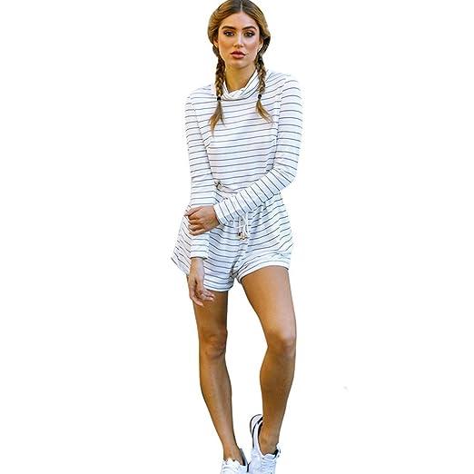 35ac656fd415 Amazon.com  TIMEMEANS Jumpsuit Womens New Loose Stripe Long Sleeve ...