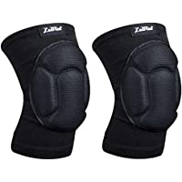 Luwint Protective Thick Sponge Knee Pads Knee Brace - High Elastic Non-Slip Basketball Volleyball Knee Sleeves Support for Gardening Weightlifting Running Gym Yoga, 1 Pair Unisex