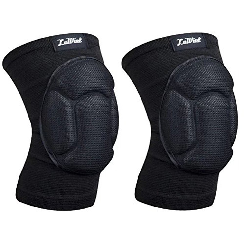 Luwint Volleyball Knee Pads Youth - High Elastic Non-Slip Sponge Knee Sleeves Brace Support for Basketball Running Gym Yoga, 1 Pair (Black)