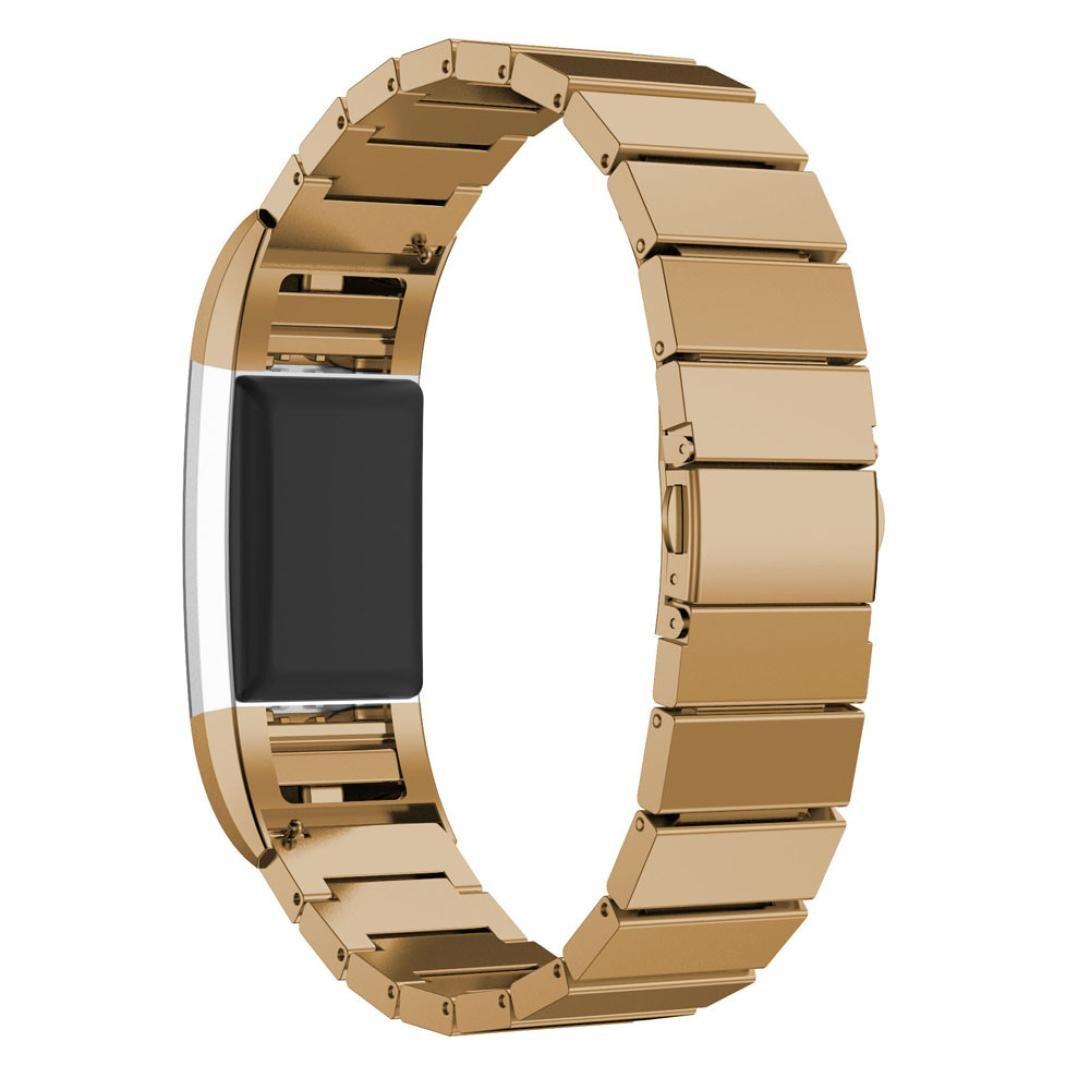 AloneA純正ステンレススチールブレスレットスマートウォッチバンドストラップfor Fitbit Charge 2 ゴールド ゴールド B01M7Q0S4U