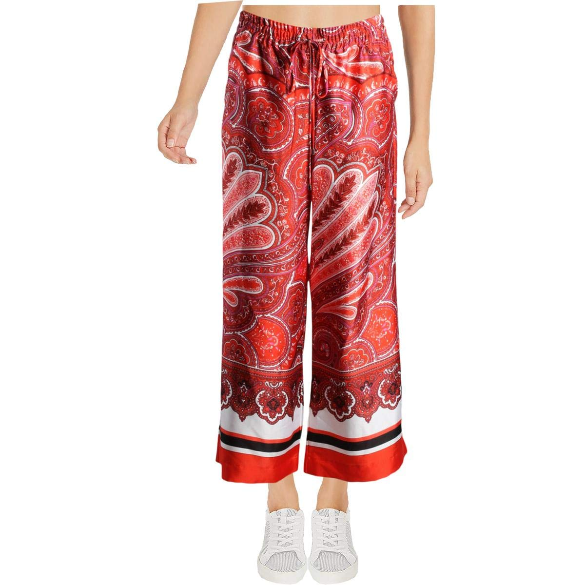 Lauren Ralph Lauren Womens Petites Paisley Drawstring Palazzo Pants Red PXS