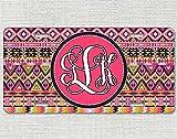 Davis Relev Monogrammed Car Tag Tribal Hipster Personalized License Plate Pink Orange