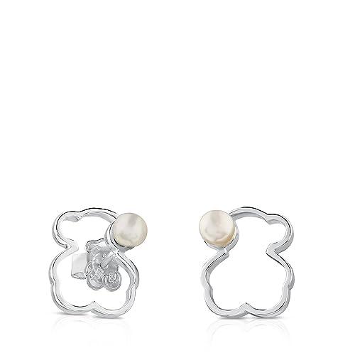 ecf77a0ed037 Pendientes TOUS Silueta de plata de primera ley con perla y cierre presión   Amazon.es  Joyería