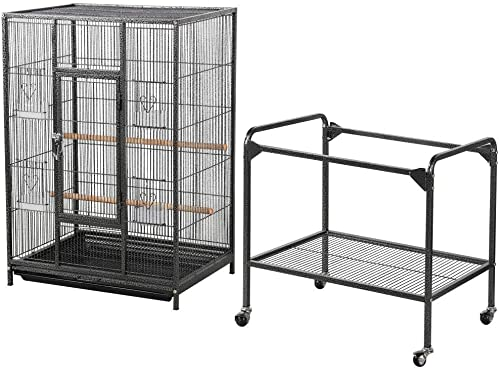 Topeakmart 53.7-inch Bird Cage with Stand Wrought Iron Construction Pet Bird Cage Play Top Parrot Cockatiel CConure Parakeet Budgie Finches Birdcage