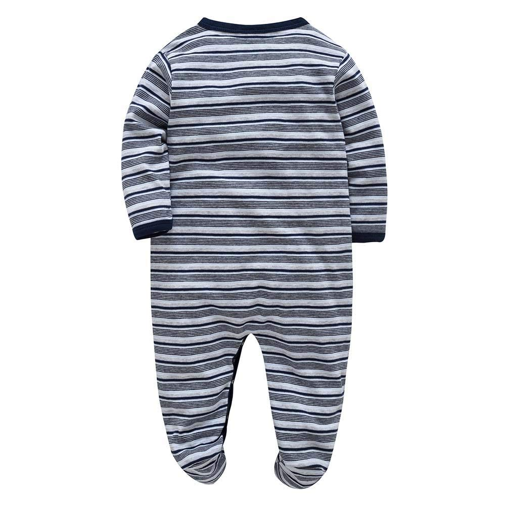 sundengyuey Spring Fashion Front Button Baby Rompers Stripe Warm Soft Infants Jumpsuit