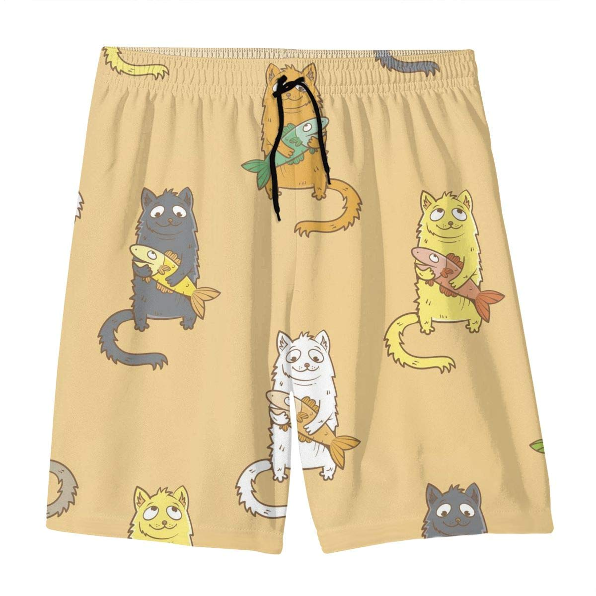 Mens Swim Trunks Cat and Fish Printed Beach Board Shorts with Pockets Cool Novelty Bathing Suits for Teen Boys