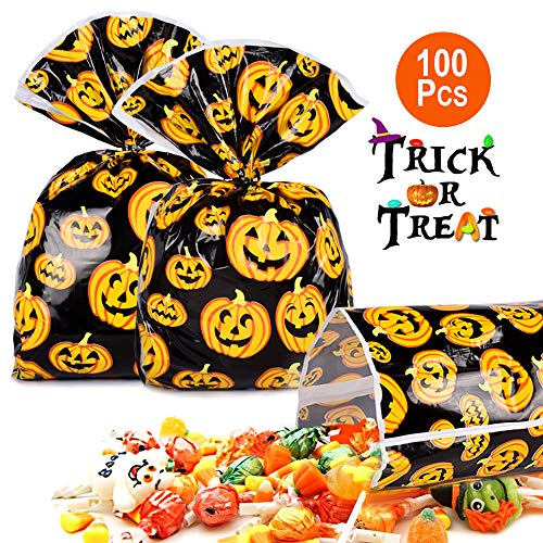 Halloween Pumpkin Bag 100 Pcs Candy Bags For Trick or Treat Pumkin Bags for Party Favors, Snacks, Decoration, Children Arts & Crafts, Event Supplies