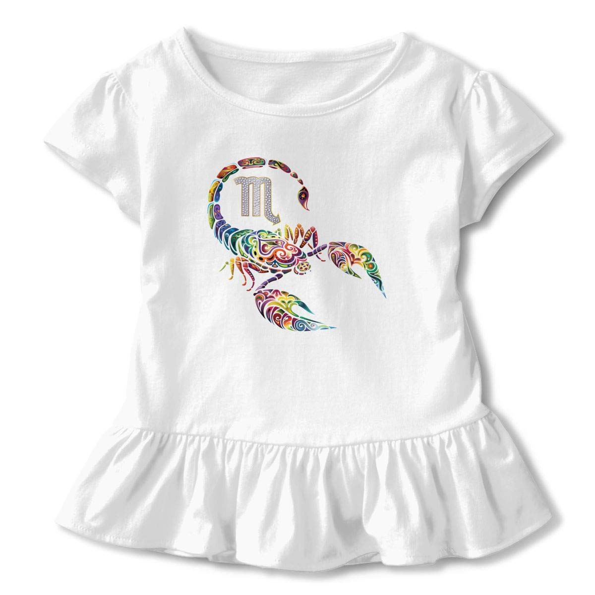 Cheng Jian Bo Psychedelic Camo Scorpio Toddler Girls T Shirt Kids Cotton Short Sleeve Ruffle Tee