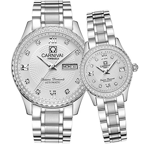 His or Hers Automatic Mechanical Gold Plated Stainless Steel Couple Watch Men and Women Gift Set of 2 (Stainless Steel Couple Watches)