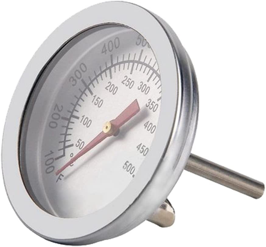 2Pcs BBQ Barbecue Charcoal Grill Pit Wood Smoker Temperature Gauge Grill Pit Thermometer Fahrenheit for Barbecue Meat Cooking Beef Pork Lamb