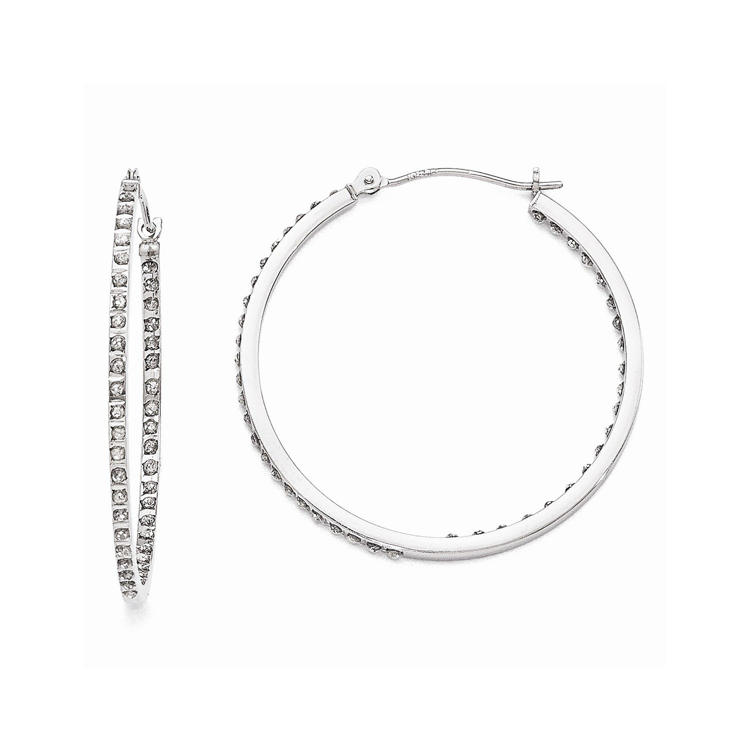Roy Rose Jewelry 14K White Gold Diamond Fascination Round Hinged Hoop Earrings ~ 36mm length by Roy Rose Jewelry (Image #1)
