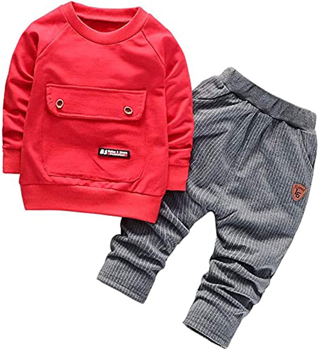 MetCuento Toddler Baby Boy Winter Clothes Long Sleeve Sweater T-Shirt Pants 2 Piece Outfits Set