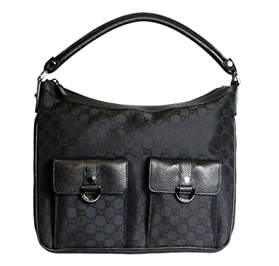 8d5c4fcfc2e Amazon.com  Gucci Women s Abbey Nylon Gg Guccissima Leather Tote Bag in  Black  Shoes