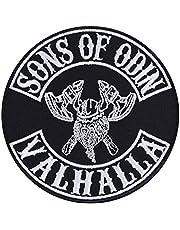Sons of Odin Valhalla patch Vikings opstrijkbare biker patch rocker strijkplaatjes metalen sticker Viking cadeau motorfiets bestuurder DIY applicatie voor jas / vest / jeans / boot / motorkoffer 90 x 90 mm