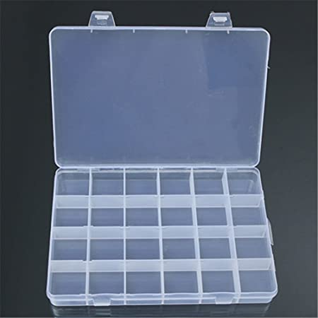ZHOUBA - Caja de plástico con 24 compartimentos para joyería, contenedor de almacenamiento, organizador de manualidades, transparente, talla única: Amazon.es: Hogar
