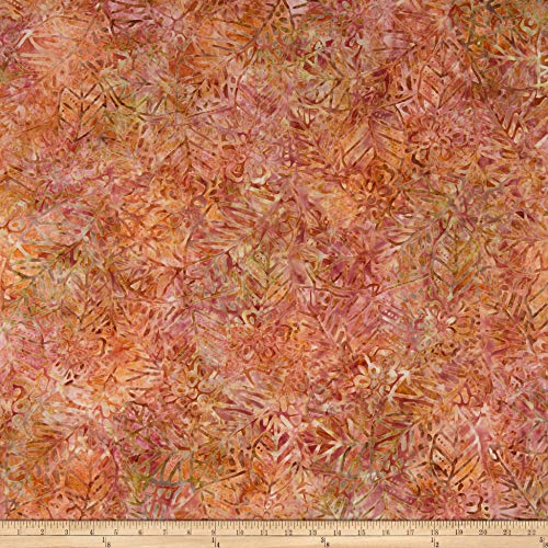 (Wilmington Batiks Leaf and Flower Mix Coral/Tan Fabric by The Yard)