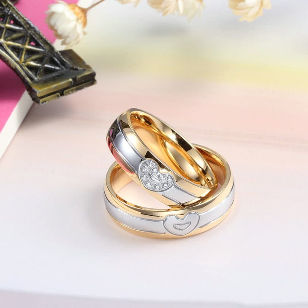 Gnzoe One Pair Fashion Jewelry Men Women Rings Gold Plated Heart Stainless Steel Silver Gold