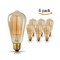 Edison Ampoule , GogoTool E27 2700-2900K Dimmable 40W ST64 Edison Lampe Vintage Ampoule Décorative Antique Filament Rétro - 6 Pack