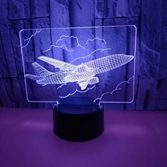 3D LED Lampe D illusion Optique Veilleuse Avion Dans Le Ciel Lumière De  Nuit Avec 0956ecd1547c