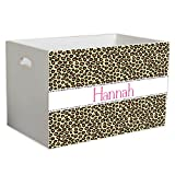 Personalized Cheetahlicious Childrens Nursery White Open Toy Box