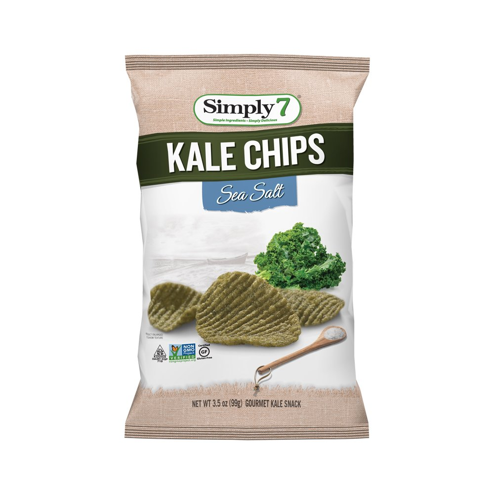 Simply7 Gluten Free Kale Chips, Sea Salt, 3.5 Ounce (Pack of 12)