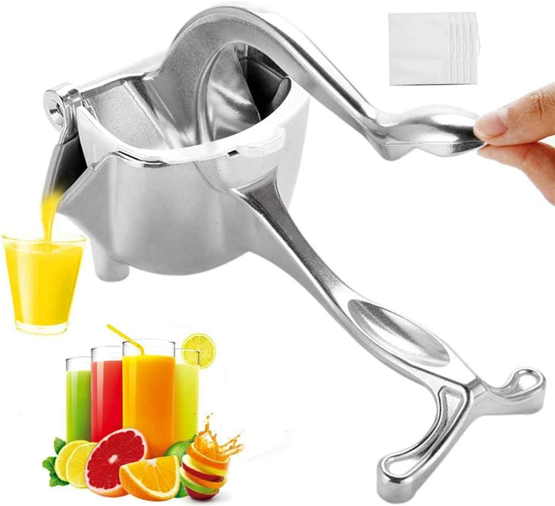 ZeroStory New Stainless Steel Manual Fruit Juicer, 10 Residue Filter Bags Simple Fruit Juicer Citrus Press Squeezer, Removable and Easy to Clean