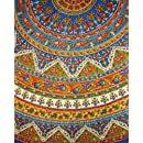 "Indian Mandala Print Round Cotton Tablecloth 76"" Blue"