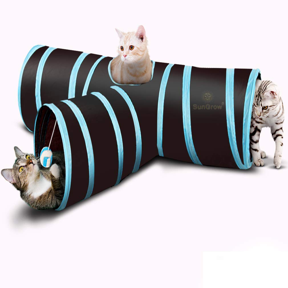 Collapsible Tunnel (3 Way Cat Tunnel) - Interactive Play Toy with Peep Hole and Crinkle Ball - for Hiding, Hunting and Resting - Confidence Booster & Health Enhancer