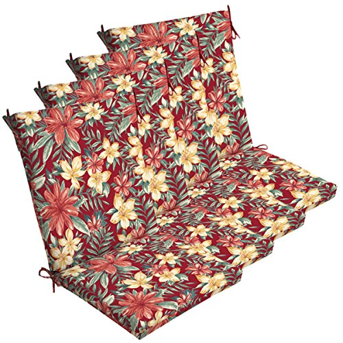 Comfort Classics Inc. Set of 4 Outdoor Dining Chair Cushions 20''x 44''x 3.5''T; H-24 in Polyester Fabric Ruby Clarissa Tropical by by Comfort Classics Inc.