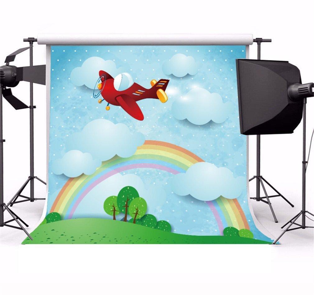 YongFoto 1,5x1,5m poliestere Sfondo Fotografico Paesaggio surreale Cartoon Aeroplano rosso Arcobaleno Nuvole Fondale Foto Festa Bambini Boby Partito Studio Fotografico Puntelli