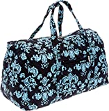 Silver Lilly Weekender Bag - Quilted Carry On Duffel Bag (Black & Blue Damask)