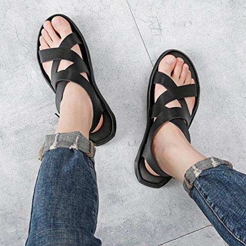 E Moda Leggero Toe Open Nero Tempo per Sandali su Impermeabile Libero per Pelle in Scarpe Pantofole Uomo Traspirante Comfort di Antiscivolo Yujeet Il 7YxBf