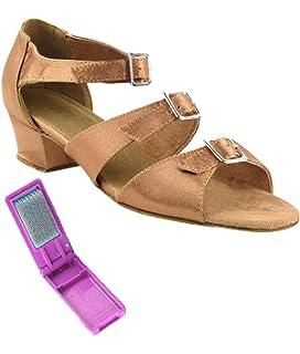 Brown Satin 9.5 M US Heel 2.5 Inch Very Fine Womens Salsa Ballroom Tango Latin Dance Shoes Style 2719 Bundle with Plastic Dance Shoe Heel Protectors