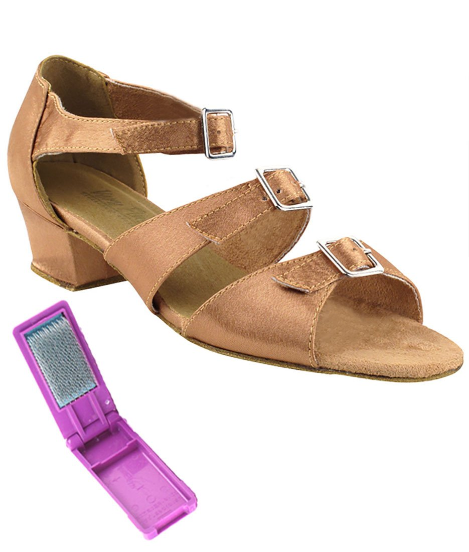 Very Fine Ballroom Latin Tango Salsa Dance Shoes for Women 1679 1.5 inch Heel + Foldable Brush Bundle - Brown Satin - 9