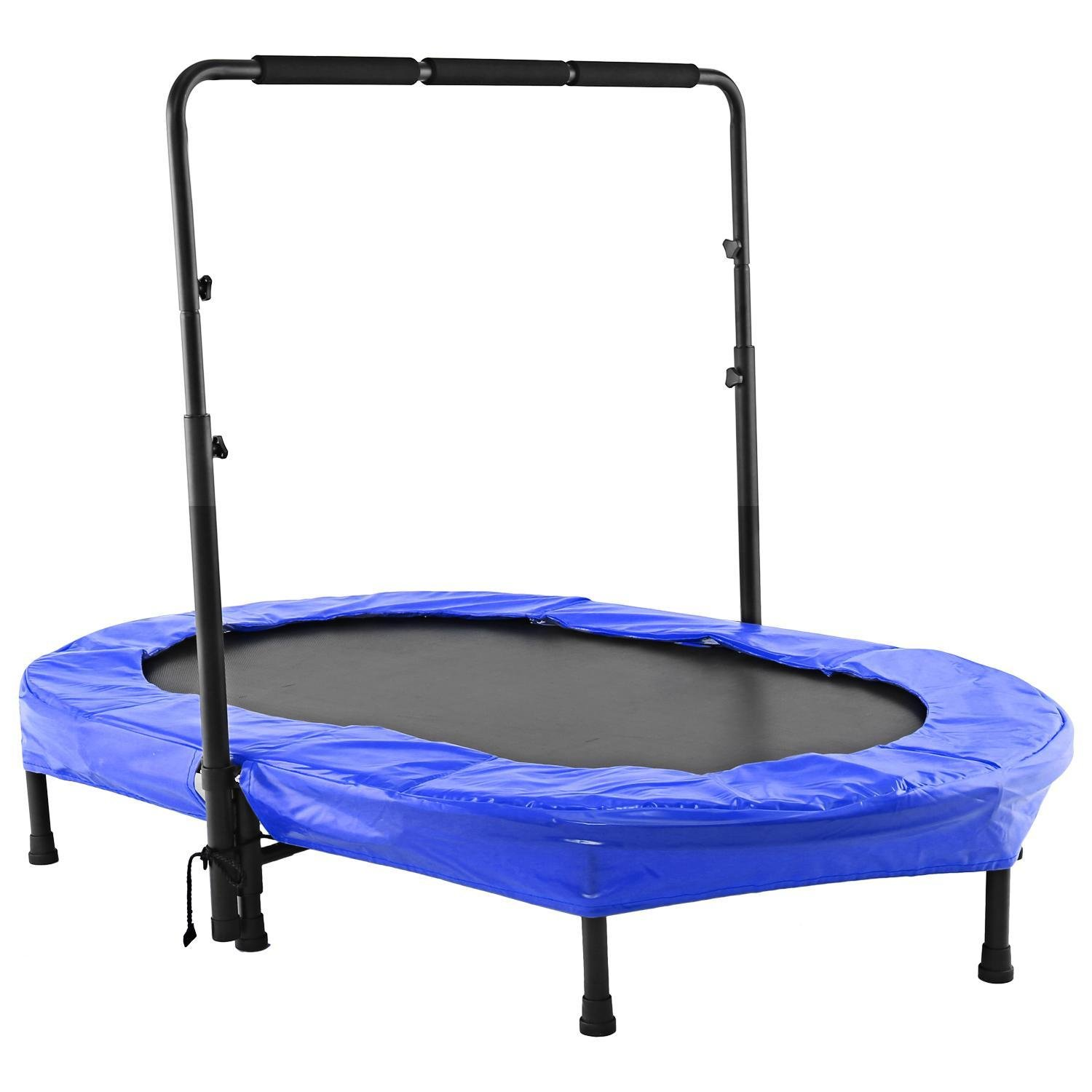 Keland Foldable Rebounder Fitness Trampoline with Safety Pad Adjustable Handlebar, Perfect for Two People, Parent-Child, Two Kids, Adult (Blue)