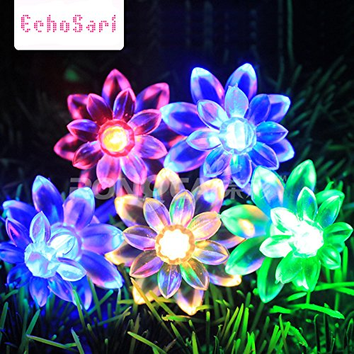 LED String Lights 4M/13feet 40 LED Lotus Flower for Chrismas, Party, Wedding, Indoor, Garden Décor (Multi-color) Led Flower Light