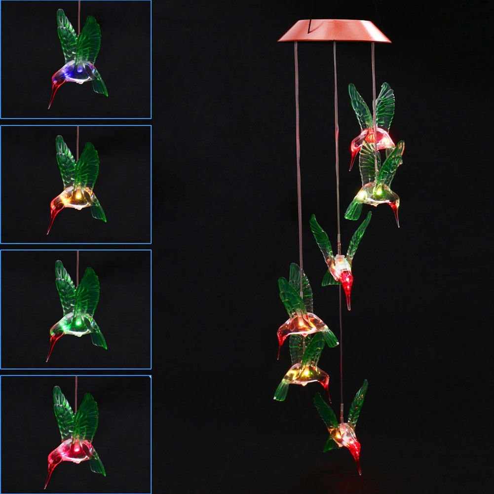 MYSWEETY LED Solar Mobile Wind Chime, Color-Changing Solar Powered LED Hanging Lamp Waterproof Six Hummingbird Wind Chimes for Outdoor Indoor Home yard Garden Decoration by