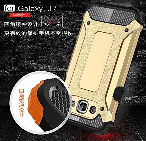 Fundas Galaxy J5 2015,XINYUNEW TPU+PC [Regalo 2.5D Cristal Vidrio Templado] Premium Armadura Híbrido caja de la armadura para el teléfono Silicona Carcasa Case Funda para Galaxy J5 2015 Plata Roso Oro