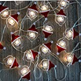 Christmas String lights Battery Operated Fairy String Lights with Timer Flexible Copper Wire 20 LED x 2 Packs of Novelty String Lights for Christmas,Holidays,Party(Santa Claus and Candy Canes)