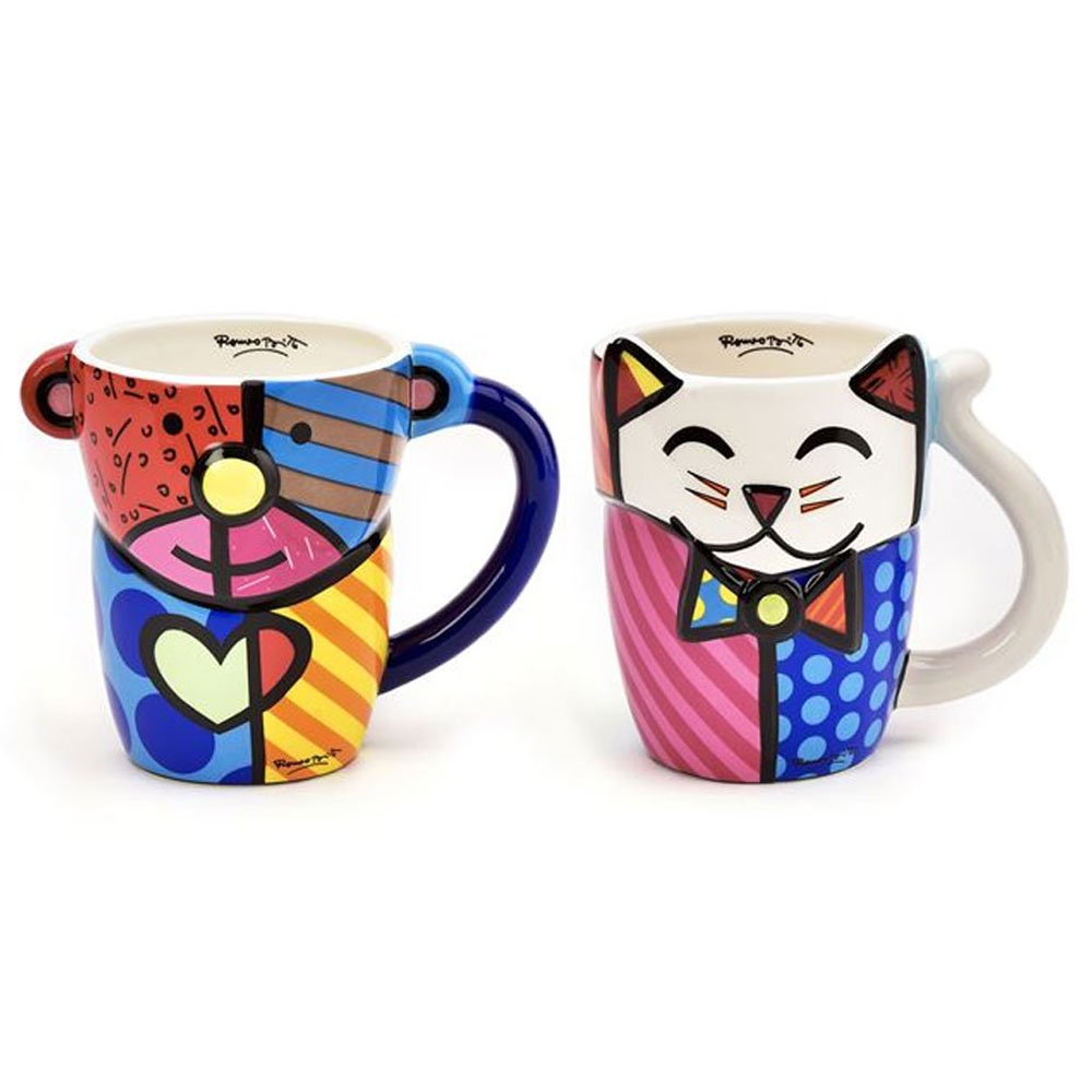 1 Romero Britto Animal Mug Design Coffee Ceramic Authentic Bear Cat Pop Art New