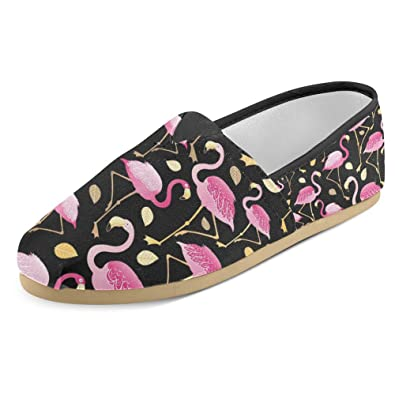 6e3173e2dacd5b InterestPrint Women s Loafers Classic Casual Canvas Slip On Fashion Shoes  Sneakers Flats Size 9 Pink Flamingos