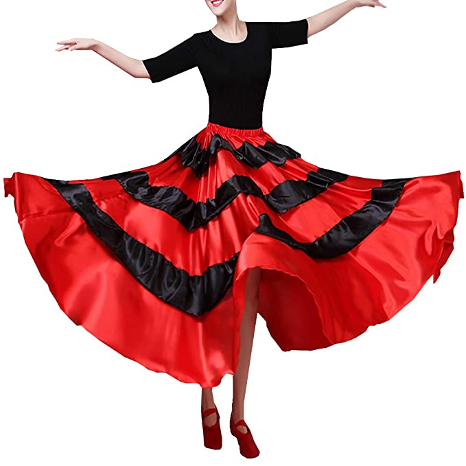 Girls Practice Full Circle Dance Skirt Black Flamenco Ballroom Spanish NEW