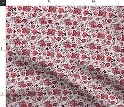 Tattoo Design Fabric - Tiny Girly Pink Star Rose Skull Swallow Sailor Jerry Old School Roses Birds Print on Fabric by The Yard - Chiffon for Sewing Fashion Apparel Dresses Home Decor