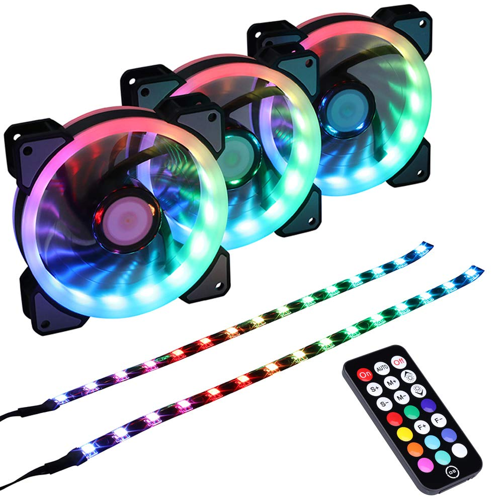 LEDdess Addressable RGB LED 120mm Case Fan with Controller for PC Cases, CPU Coolers, Radiators System (3pcs RGB Fans, 2pcs led Strips, 2nd Gen RF Remote Control, A Series) by DS leddess