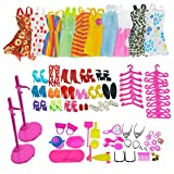 110 pieces of Clothes Shoes & Accessories Bundle for barbie doll - 10 pack fashion mini dress, 14 Pair Shoes, 2 pcs Doll stand Bracket, 84 pcs accessories for Girls Birthday Christmas Gift