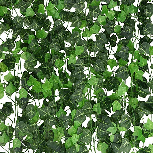 English Ivy Vine - A-Decor 84 ft-12 Pack Artificial Ivy Vine Hanging Garland Fake Foliage Flowers Leaf Plants Home Garden Greenery Life-Like English Poison Ivy Wedding Party Strands Indoor Outdoor Wall Decor, Green
