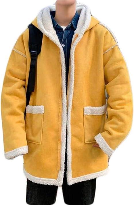 (ショッフェ)ボアコート ジャケット フード付き メンズ トレンチコートトップス ゆったり 着痩せ 無地 シンプル カジュアル 中綿 綿入れ 裏起毛 韓国風 ファッション ハンサム