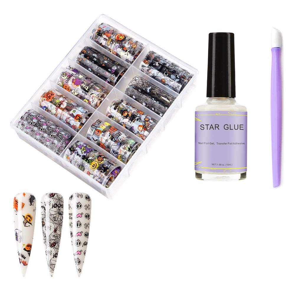 Halloween Nail Foil Transfer Stickers Day Of The Dead Nail Art Decals Halloween Party Accessories Wraps with Pumpkin Witch Spider Web Ghost Design Nail Foil Glue Manicure Stick DIY Fingernail toenail by MANGOIT
