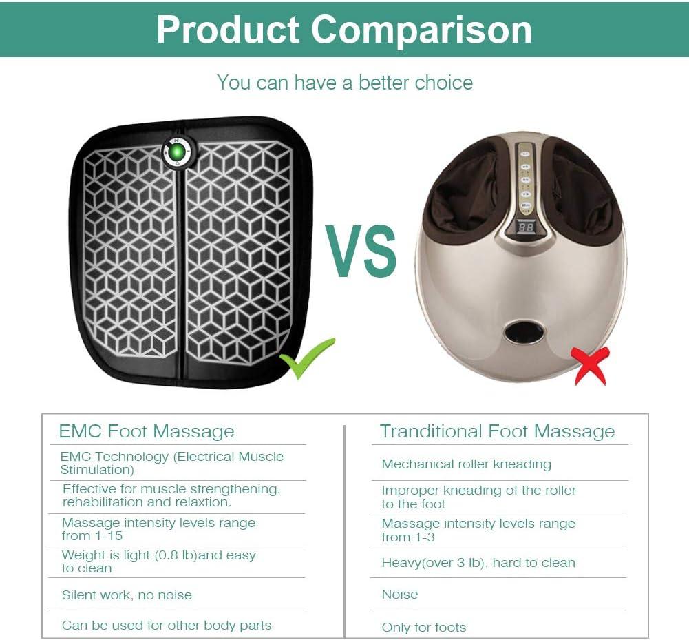 massage des pieds Haofy EMS appareil de massage /électrique des pieds matelas de massage pour stimulation musculaire portable rechargeable par USB force de 1 /à 15